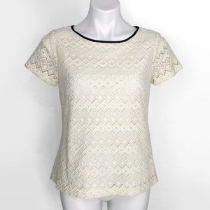 Talbots Cotton Lyocell Lace Leather Trim Top 10P